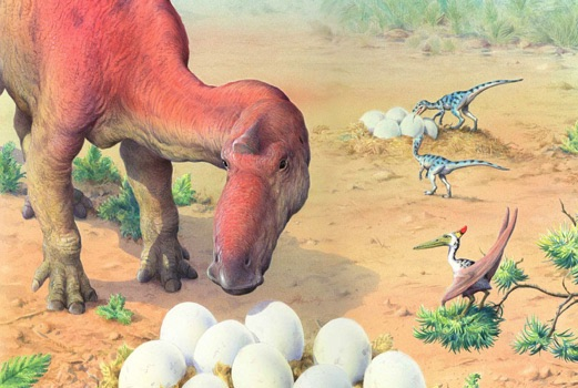 Maiasaurus with eggs