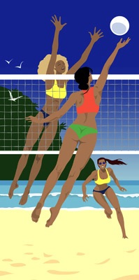 graphic illustration beach volleyball